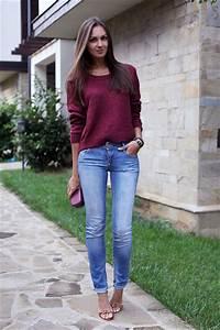 Crimson Hu0026M Sweaters Light Blue Pullu0026Bear Jeans Tawny Stradivarius Heels | u0026quot;Burgundy Sweater ...