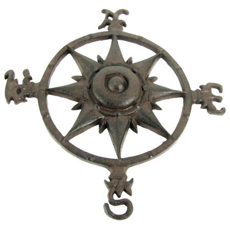 Rustic Cast Iron Rose Compass Nautical Beach House Wall