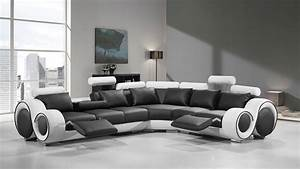 divani casa 4087 modern black and white bonded leather With 4087 modern leather sectional sofa with recliners