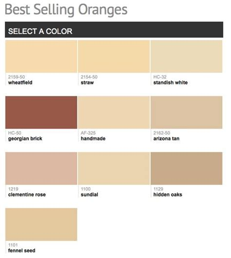 best selling popular shades of orange paint colors from