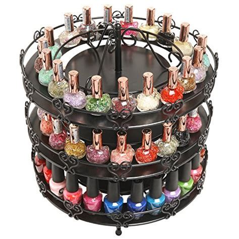 3 Tier Black Metal Rotating Large Nail Polish Carousel