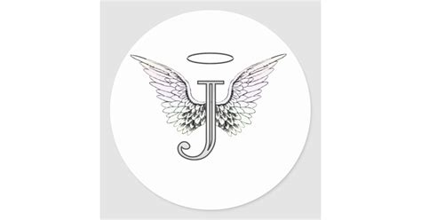 letter  initial monogram  angel wings halo classic  sticker zazzlecom