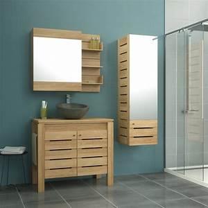 meuble de salle de bains de 80 a 99 brun marron moorea With meuble teck salle de bain leroy merlin