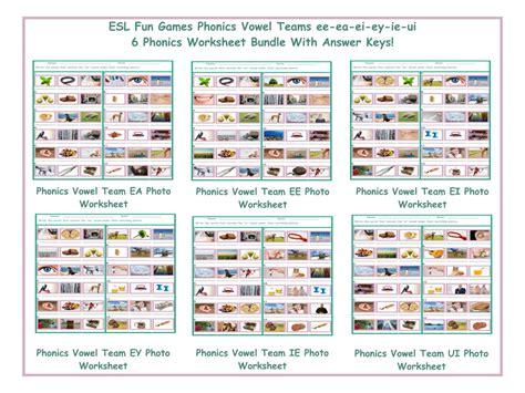 Phonics Vowel Teams Ee-ea-ei-ey-ie-ui 6 Worksheet Bundle