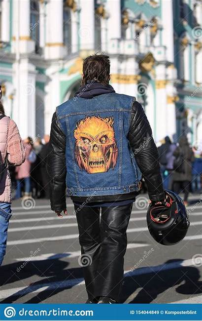 Vest Biker Denim Leather Jacket Skull Applique