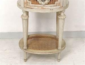 Table De Chevet Wengé : table chevet ovale louis xvi bois laqu cannage marbre ~ Teatrodelosmanantiales.com Idées de Décoration