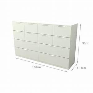 Commode 12 Tiroirs : billund commode 12 tiroirs 160cm blanc achat vente commode pas cher couleur et ~ Teatrodelosmanantiales.com Idées de Décoration