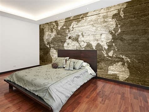 3d Wallpaper Texture For Bedroom by Custom Texture Wallpaper World Map On Wood 3d Wallpaper