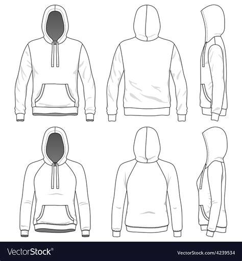 front   side views  blank hoodie vector