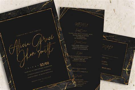 Gold Black Marble Wedding Invitation Marble invitation