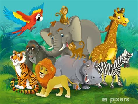 cartoon safari illustration   children wall mural