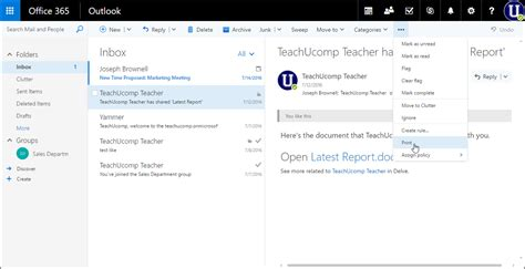 email print print an email in outlook on the web