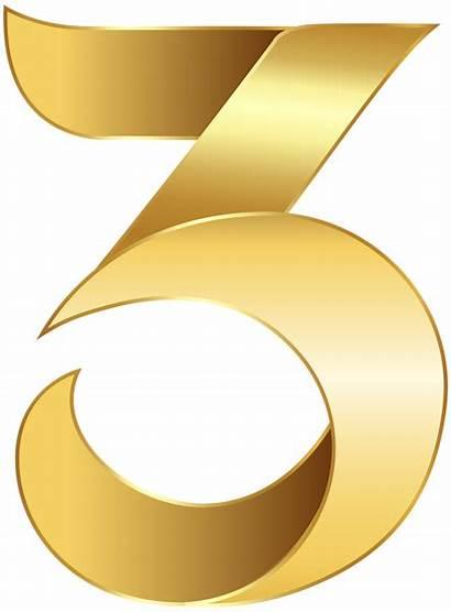 Transparent Number Clip Golden Clipart Three Gold