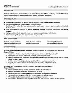 Sales and marketing resume sample for 2 years experience for Sample resume for experienced marketing professional