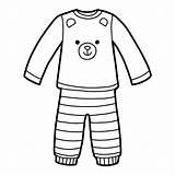 Pyjamas Coloring Pajamas Pyjama Colorare Clipart Clip Flannel Orso Pigiami Vector Illustrations Bear Boek Kleurend Beer Een Pigiama Libro Malbuch sketch template