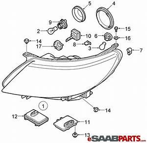 12842070  Saab Headlamp Housing - Xenon - Rh