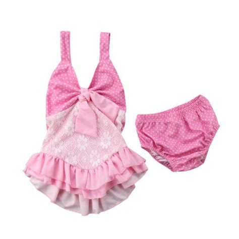 infant toddle baby girls lace tutu ruch bikini swimsuit
