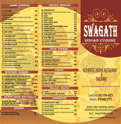 indian cuisine menu swagath indian cuisine authentic indian south