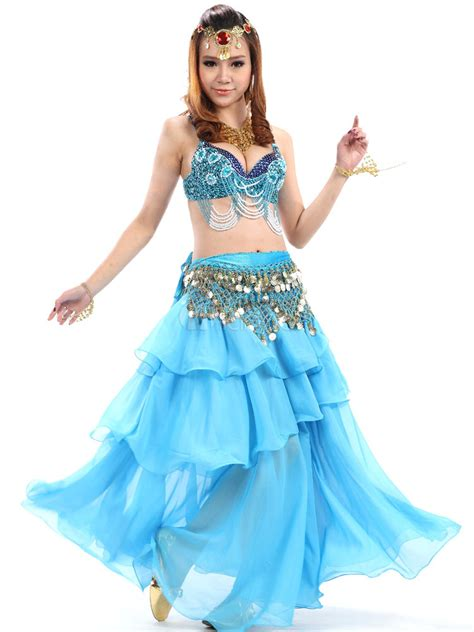 light blue dance costumes belly dance costume light blue sequined bollywood dance