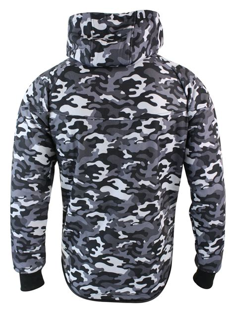 Mens Camo Camouflage Full Tracksuit Bottoms Top Zip Hooded