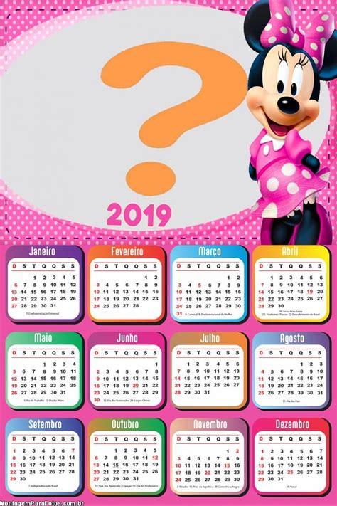 calendario minnie de rosa montagem fotos
