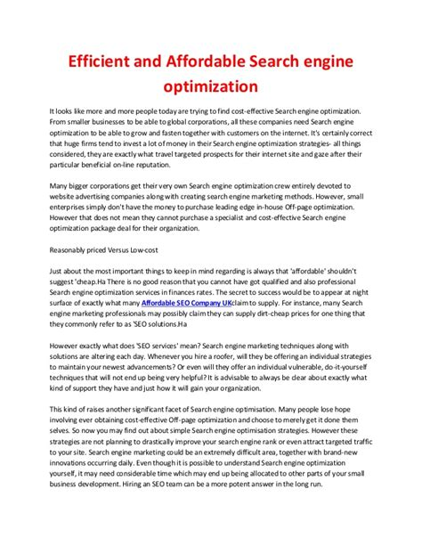 Search Engine Optimization Cost by Efficient And Affordable Search Engine Optimization