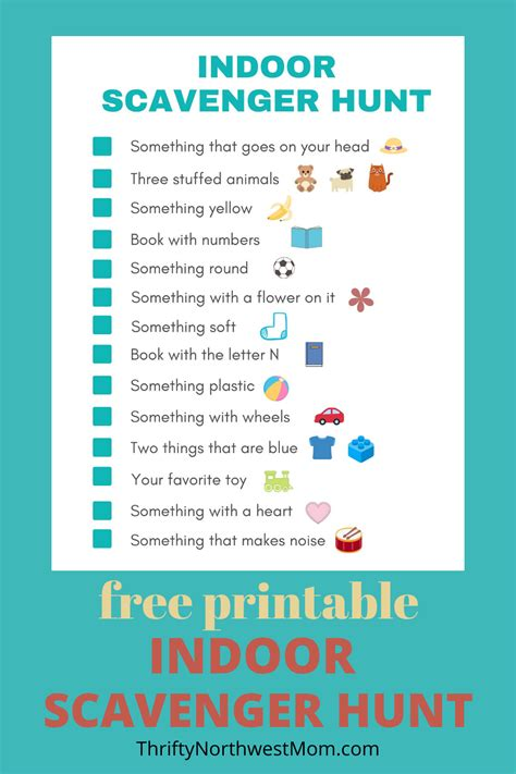 indoor scavenger hunt  kids  printable thrifty nw mom