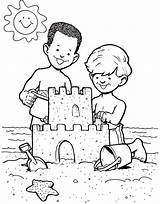 Sand Castle Sandcastle Coloring Boys Drawing Clipart Cliparts sketch template