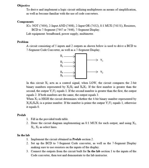 Solved Objective Derive Implement Logic Circuit
