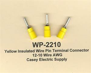 25 Yellow Insulated Wire Pin Terminal Connectors 12