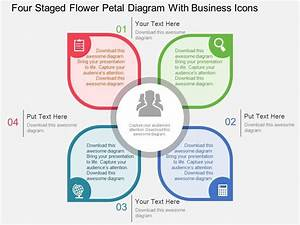 Four Staged Flower Petal Diagram With Business Icons Flat