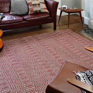 Tapis En Coton : tapis design rouge et blanc g om trique en coton et laine ~ Nature-et-papiers.com Idées de Décoration
