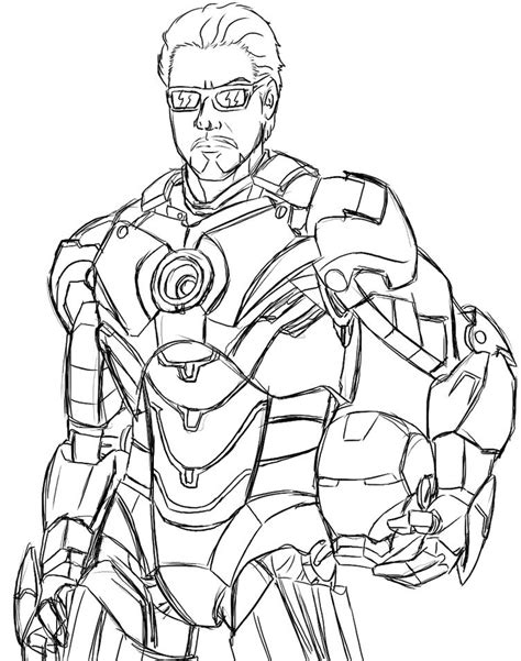 iron man unmasked coloring page coloring galore pinterest