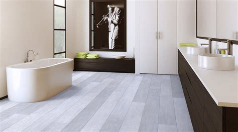Gray Plank Tile Bathroom Modern Minimalist Bathroom Design With White And Brown