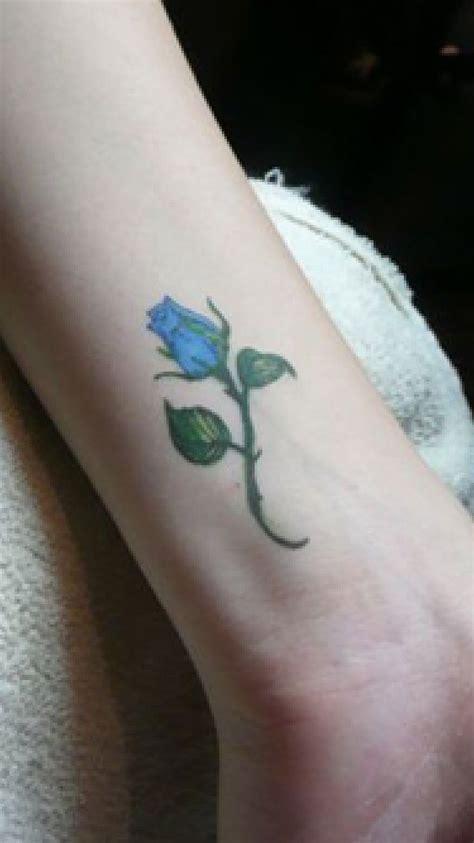 blue rose bud tattoo perfect