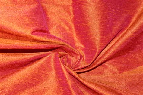 Curtains 63 Inch by Iridescent Dupioni Silk Fabric Orange Pink Fat By Fabricasia