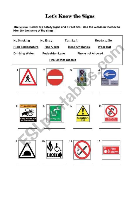 worksheets safety signs