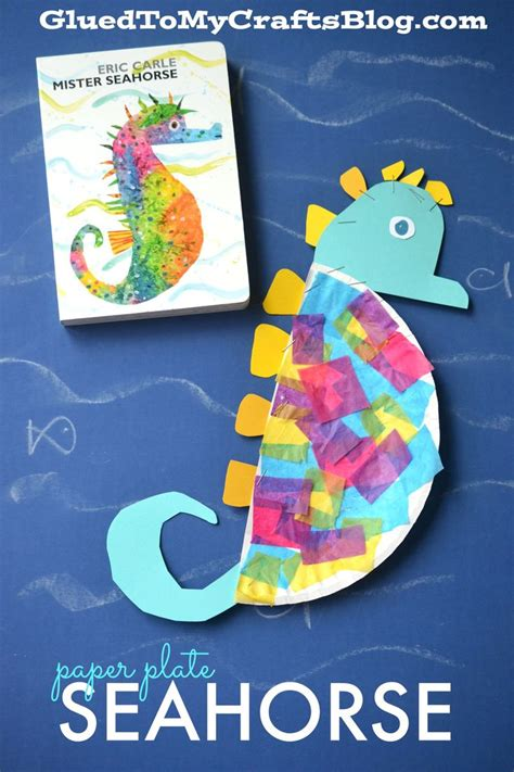 paper plate seahorse kid craft crafts paper plate