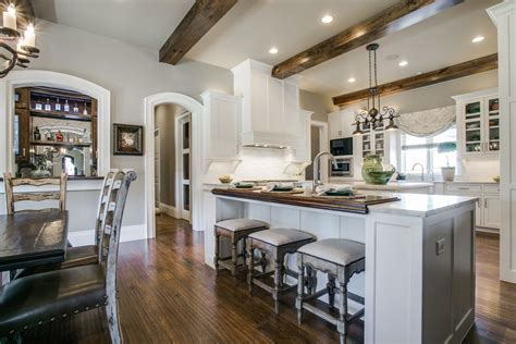 dallas faux wood beams kitchen rustic with white cabinets