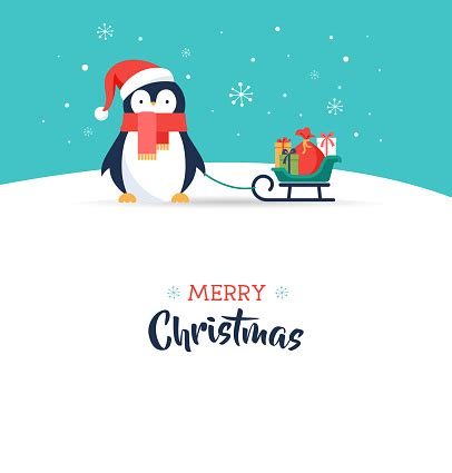 Cute Penguin Merry Christmas Greeting Card Stock