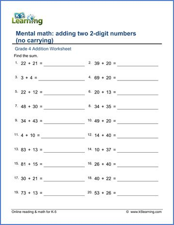grade 4 addition worksheet adding 2 2 digit numbers no regrouping k5 learning