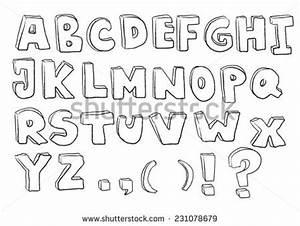 vector hand drawn alphabet on gray stock vector 514550806 With 3 dimensional alphabet letters
