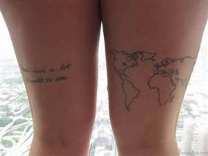 22 World Map Tattoos For Thigh
