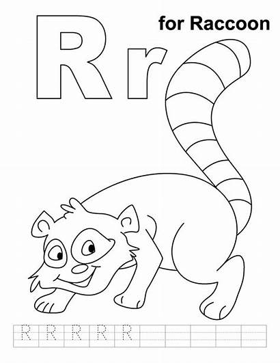 Raccoon Coloring Pages Practice Printable Letter Alphabet