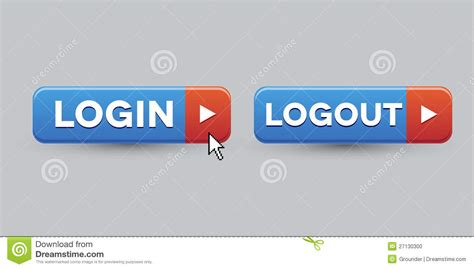 Login Logout Button Set Stock Photo