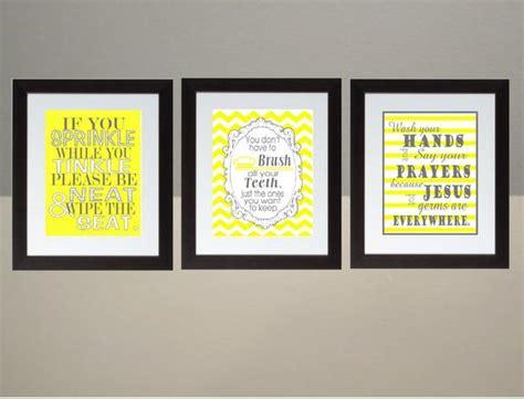 yellow gray chevron bathroom wall art print set