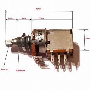Push  Pull Potentiometer B250k 16 Mm Dia 18 Mm Long Shaft