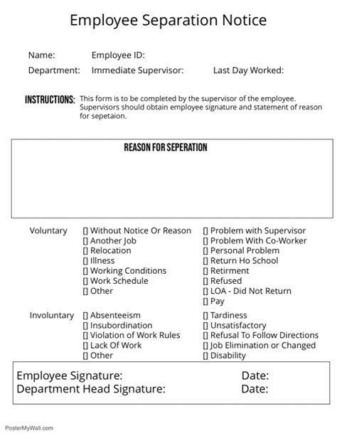 employee separation notice template postermywall