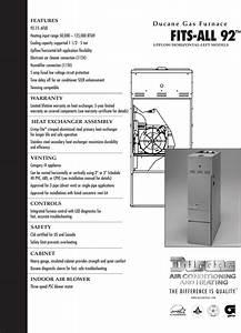 Ducane Hvac Fits All 92 Users Manual 20590702