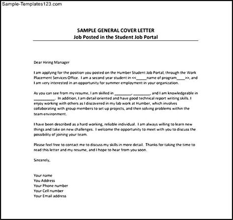 General Cover Letters For Resumes by General Resume Cover Letter Free Pdf Template Sle Templates